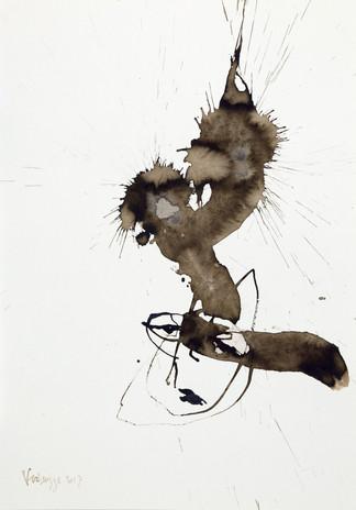 Gewassen rietpentekening met tekeninkt, acryl op 300 grams aquarelpapier