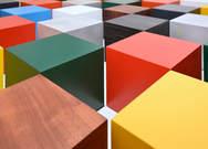 Paul Kelley: Painted aluminium magetic cubes