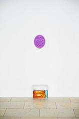Sylvie Fleury Fleur De Portofino, 2017 Orange leather Balenciaga bag, Tom Ford perfume, purple cat bowl, Chloè shoe box Size Variable