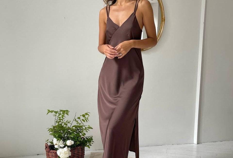 Платье комбинация миди