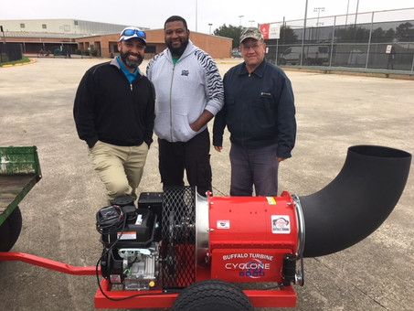 """EnviroTurf delivers a brand new turf """"blower"""" to the hard working ground crew at Spring ISD!"""