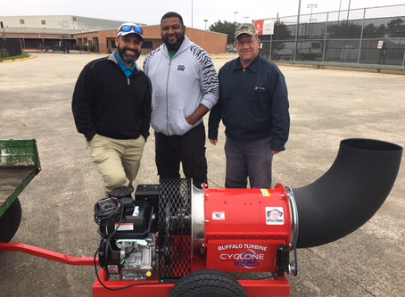 "EnviroTurf delivers a brand new turf ""blower"" to the hard working ground crew at Spring ISD!"