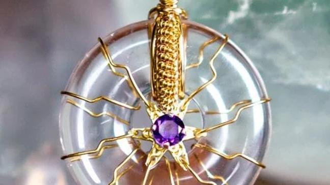 Flower of Life-Gold-Clear Quartz/Amethyst