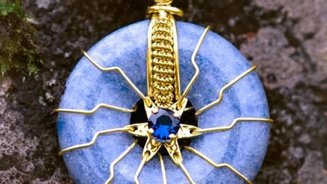 FLOWER OF LIFE - Blue Quartz w/Saphire in Solid Gold