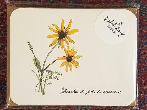 """1020 """"Black Eyed Susans"""" Blank Note Cards - Set of 4"""