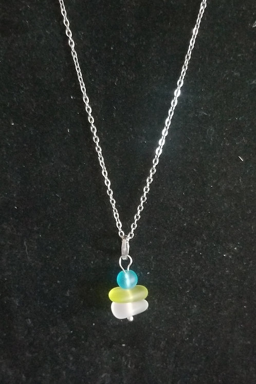 """880 """"Twice Tossed Sea Glass"""" Stacked Necklace"""