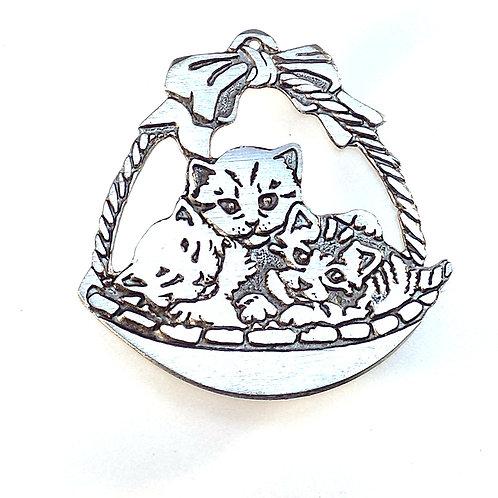 """161 """"Basket of Kittens"""" Ornament"""