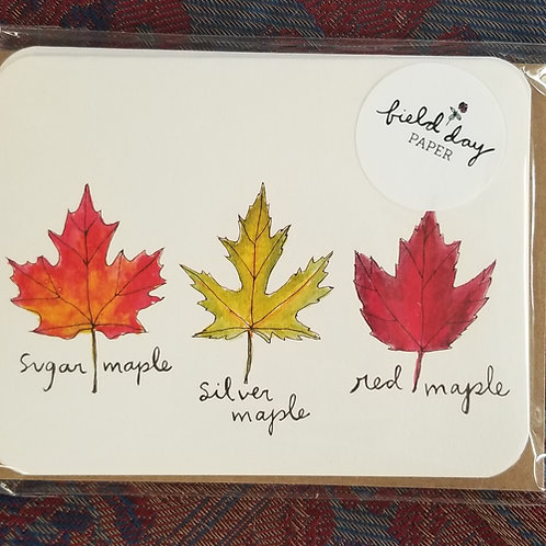 "1020 ""Leaves"" Blank Note Cards - Set of 4"