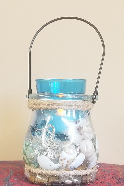 """1112 """"Nautical"""" Glass Candle Holder"""
