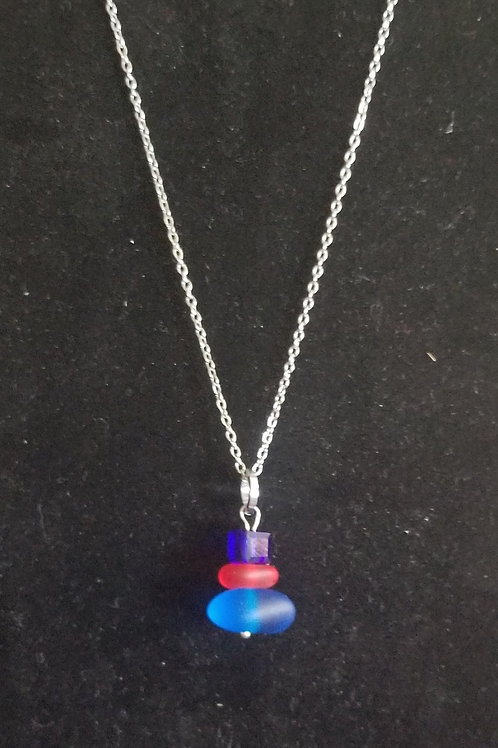 "880 ""Twice Tossed Sea Glass"" Stacked Necklace"