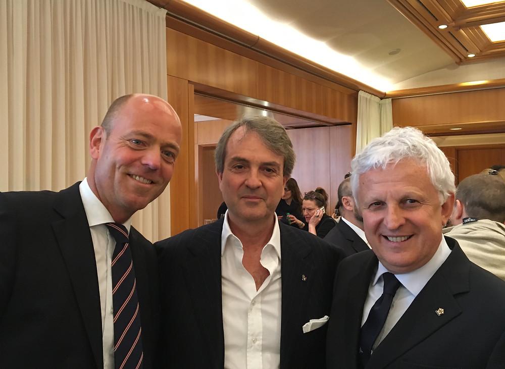 Il presidente De Felice e il Vicepresidente Rinaldi con il Presidente della Sailing Champions League Schwall