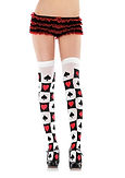 Red Queen Card Thigh High Stockings