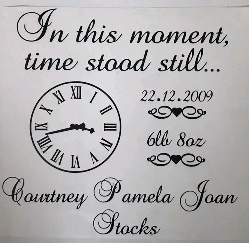 Personalised time stood still frame