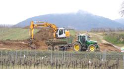 Chantier de terrassement viticole