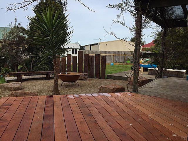 Mornington backyard -Deck, Sleepers