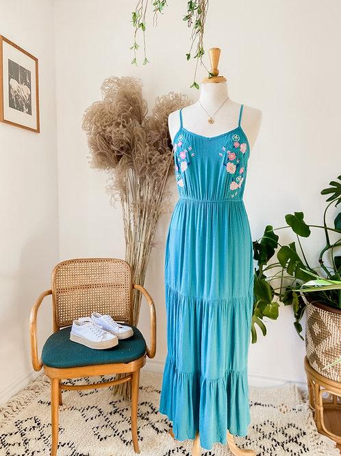 Robe longue turquoise & Haut de crochet