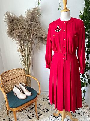 HRH   Robe 100%  laine rouge vintage