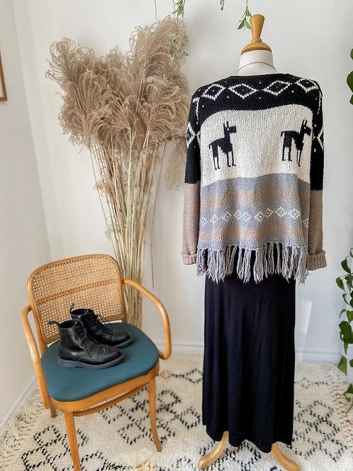 Tricot Poncho & Longue robe