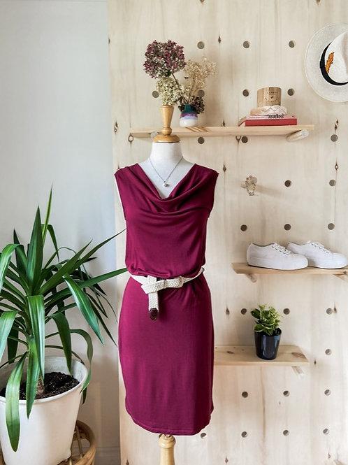 Robe Aubergine & Ceinture tréssée
