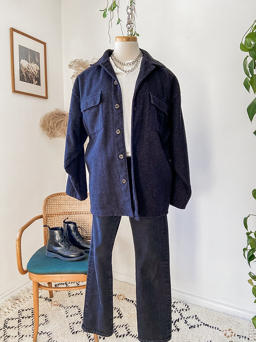Shacket Old River & Tricot blanc & Jeans Guess