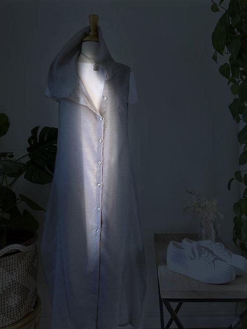 Streewear style    Robe longue grise & T-shirt blanc