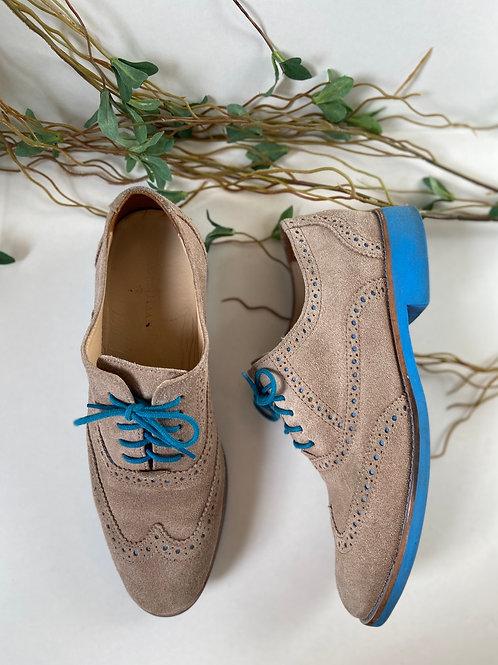 Oxfords chaussures à semelles et lacets bleu