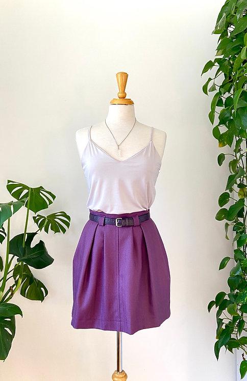 Le 7 ième chakra | Jupe pourpre Vintage & Camisole croisée& Collier de Quartz
