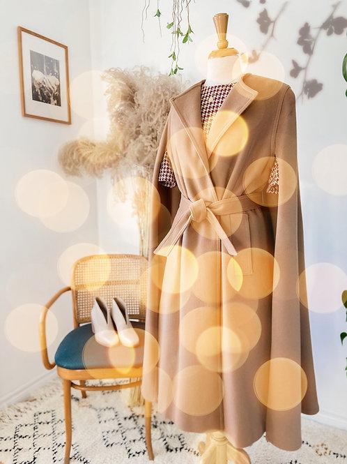 Vintage Manteau Cape de laine beige & Robe pied de poule bourgogne