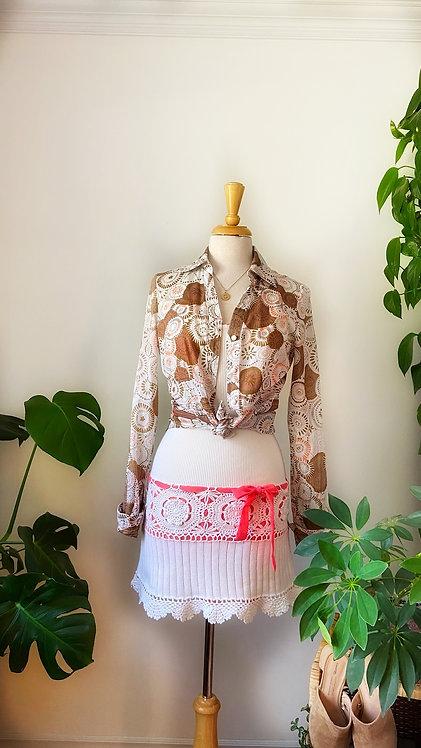 """Robe de """"RIB"""" épais et crochets de tricots & Chemise mandala brune et rose"""