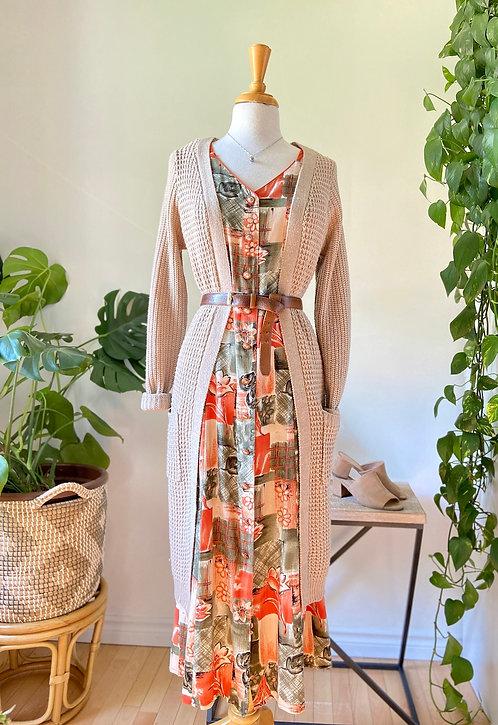 Oldies but goodies | Robe longue imprimée & Longue  veste de tricot