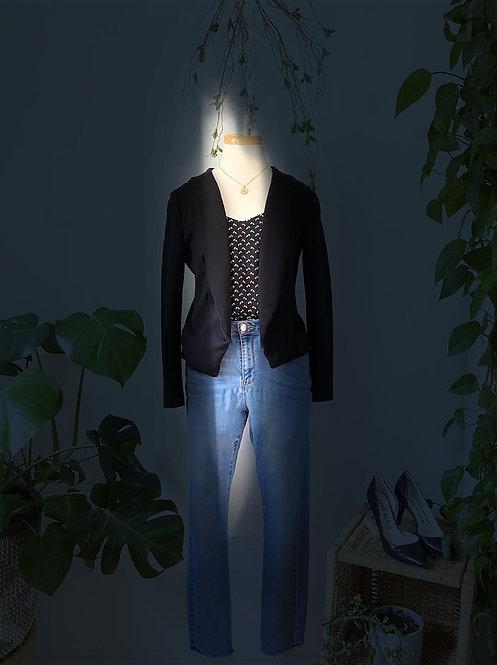 Jeans, Veston & Camisole imprimée