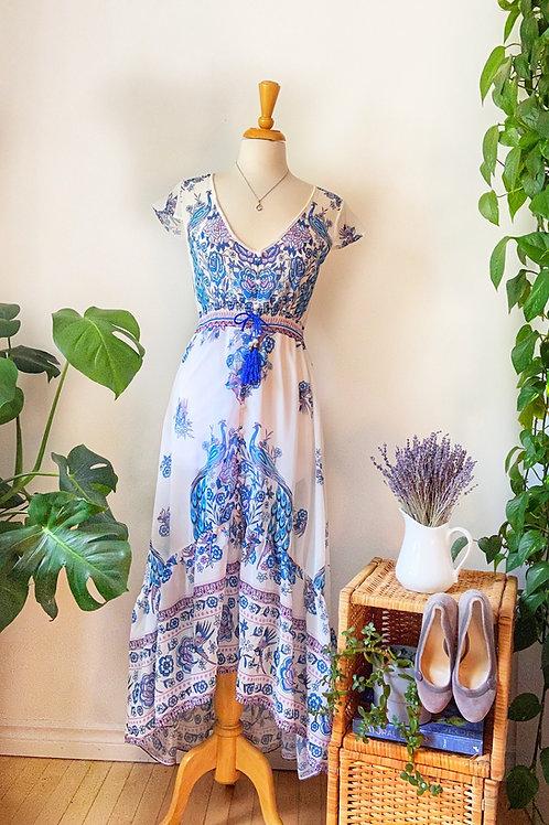 Mme Kalo  | Robe longue imprimée paons