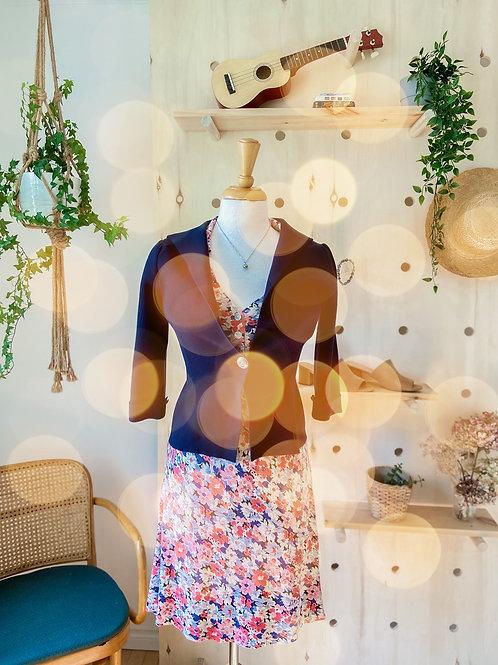 Robe vintage fleurie & Veste marine