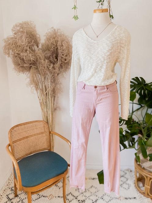 Tricot crème & Jeans rose.