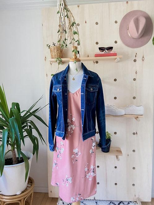 Robe Satinée Rose & Veste Denim