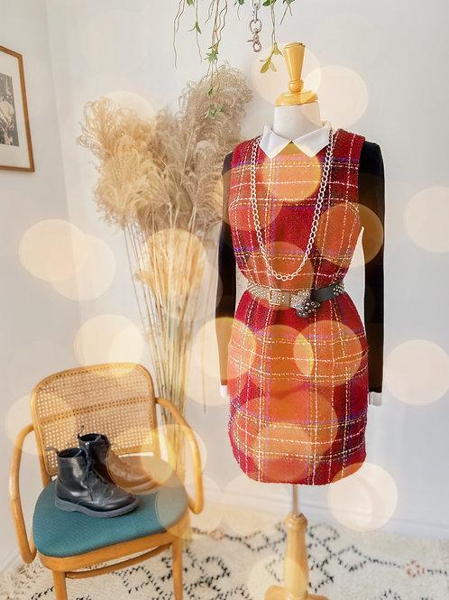 Robe carreaux & Tricot léger avec col