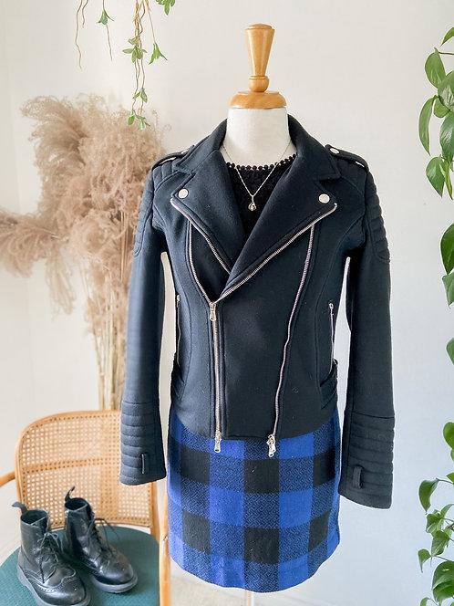 Rock Chic     Robe Carreux et dentelles & Perfecto à double zip