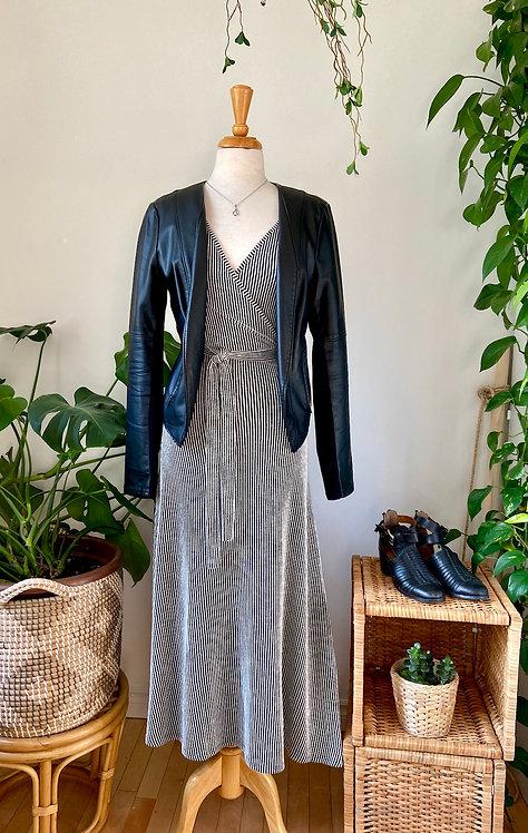 Robe soyeuse & Veste de cuirette