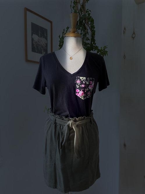 T-Shirt Poches & Fils & Jupe Kaki