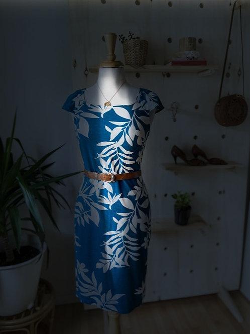 Robe turquoise imprimée & Ceinture