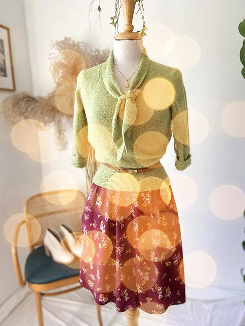 Robe fleurie & Tricot de laine vert