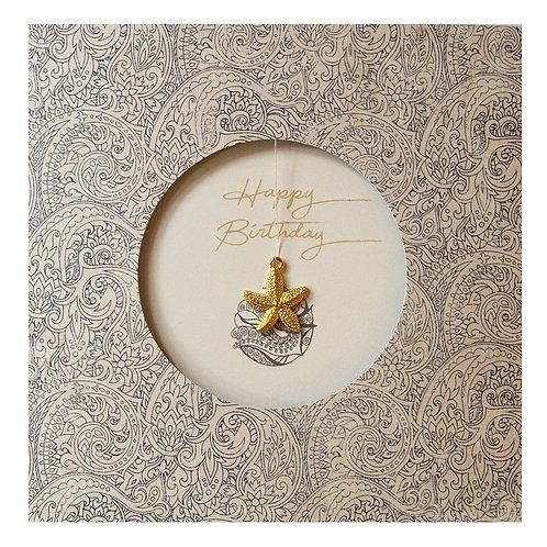 Grusskarte Happy Birthday mit goldenem Seestern