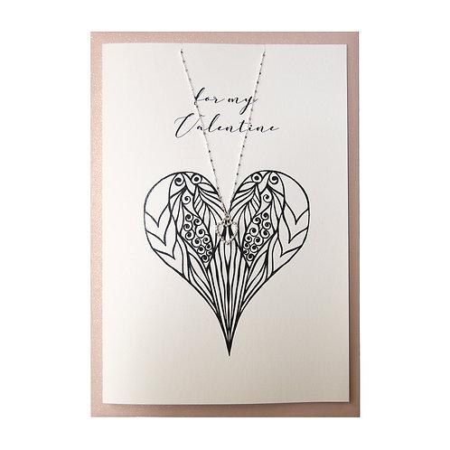 Schmuck-Geschenkkarte mit Herz-Silberkette