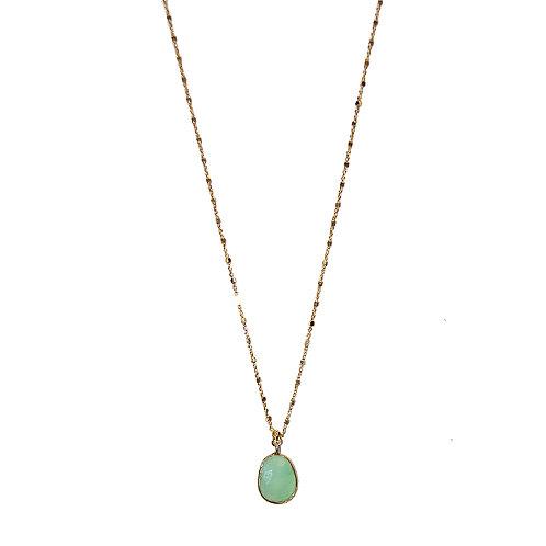 Halskette Majaan vergoldet mit Achat grün