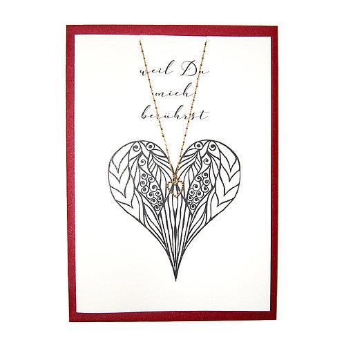 Schmuck-Geschenkkarte mit Herz-Silberkette vergoldet