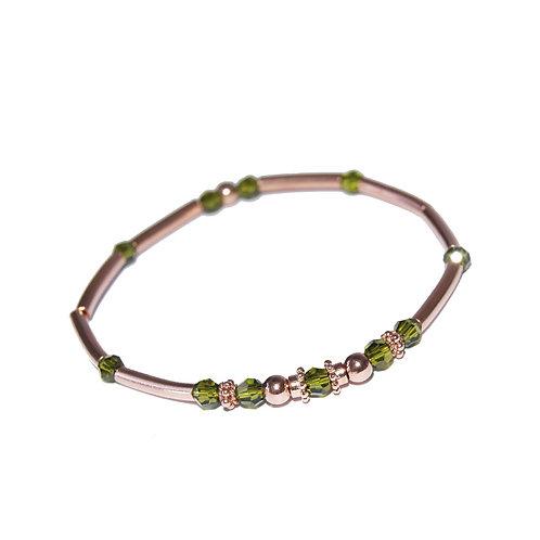 Armband roségold mit olivegrünem Kristall