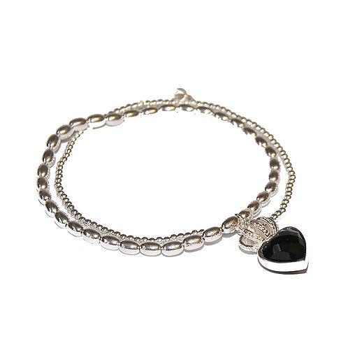 Silber Armband mit Onyx-Herz