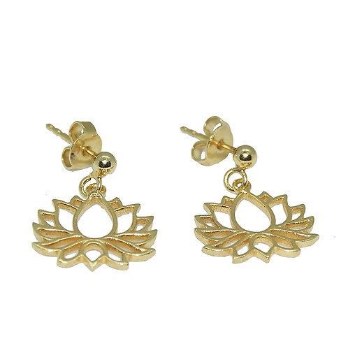 Ohrstecker Lotusblüte Silber vergoldet