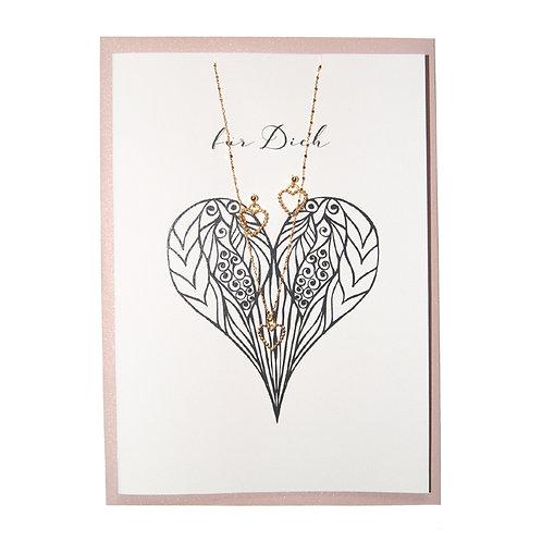Schmuck-Geschenkkarte mit Herz-Schmuckkombi