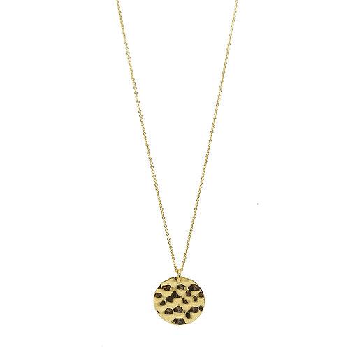 Halskette Silber vergoldet mit Amulett gehämmert